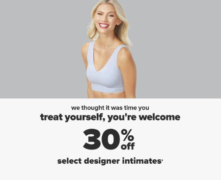30% Off Select Designer Intimates from Belk