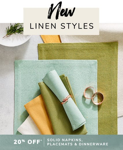 20% Off Solid Napkins, Placemats & Dinnerware