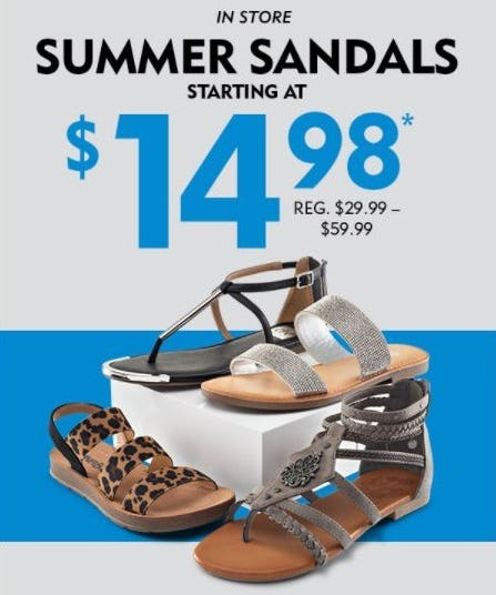 Summer Sandals Starting at $14.98 from Shoe Carnival