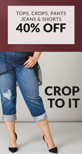 Tops, Crops, Pants, Jeans & Shorts 40% Off from Lane Bryant