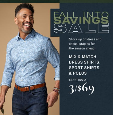 Dress Shirts, Sport Shirts & Polos Starting at 3 for $69 from Men's Wearhouse