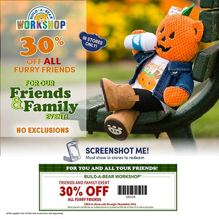 Save 30% on ALL furry friends at Build-A-Bear Workshop