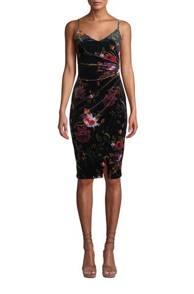 Bowery Ruched Floral Velvet Dress from Neiman Marcus