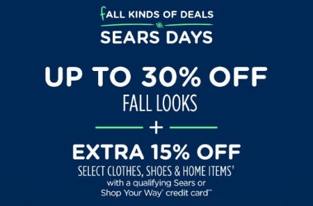 Up to 30% Off Fall Looks from Sears