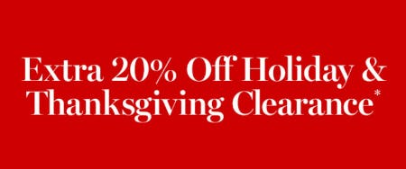 Extra 20% Off Holiday & Thanksgiving Clearance