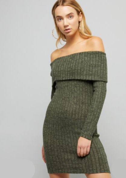 Olive Green Off The Shoulder Hacci Dress from rue21