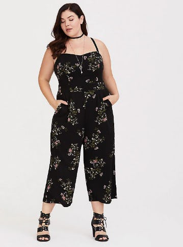Black Floral Sleeveless Challis Jumpsuit from Torrid