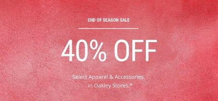 40% Off End of Season Sale from Oakley