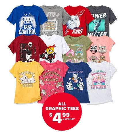 All Graphic Tees $4.99 & Under from The Children's Place Gymboree