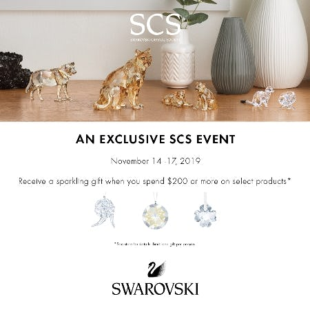 SCS Event + Receive a Sparkling Gift with purchase of $200 or more from Swarovski