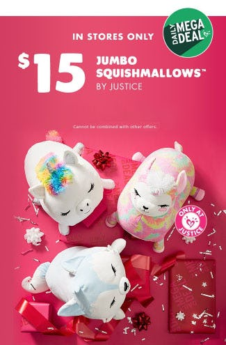 $15 Jumbo Squishmallows from Justice