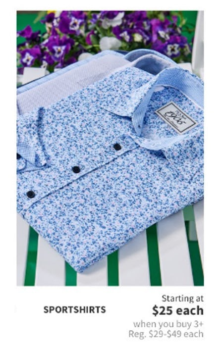 Sportshirts Starting at $25 Each When You Buy 3 or More