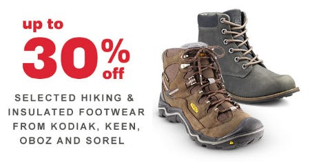 Up to 30% Off Selected Hiking & Insulated Footwear From Kodiak, Keen, Oboz & Sorel from REI