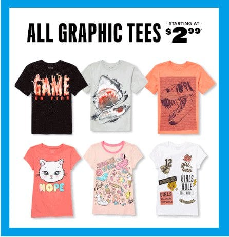 All Graphic Tees Starting at $2.99