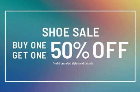 Shoe Sale: Buy One, Get One 50% Off