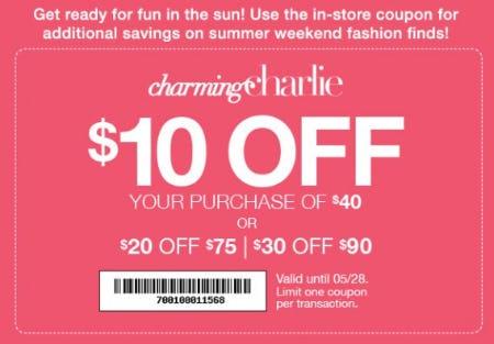 $10 Off $40 purchase, $20 Off $75 purchase, $30 Off $90 purchase from Charming Charlie