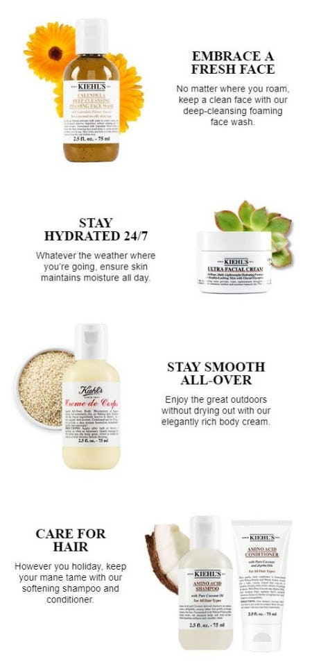 Travel-Ready Favorites for Face, Hair & Body from Kiehl's