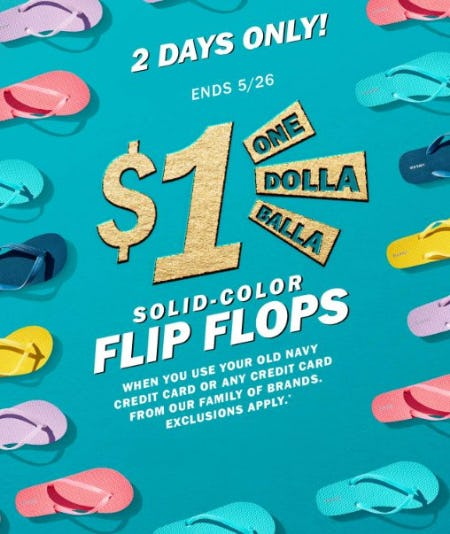 $1 Solid-Colored Flip Flops from Old Navy