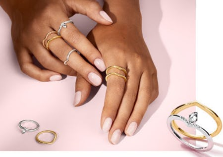 11692f2d6 Take it up a notch with timeless wishbone rings and other stackable  designs. Shop in store today!
