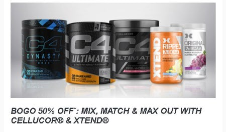 BOGO 50% Off: Mix, Match & Max Out With Cellucor & Xtend