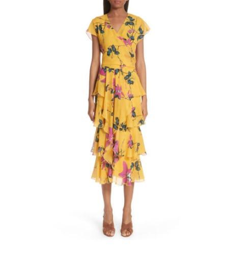 Lily Print Tiered Silk Dress