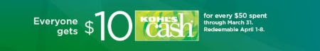 Everyone Gets $10 Kohl's Cash from Kohl's