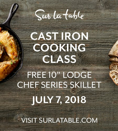 Sur La Table Cast Iron Cooking Class + FREE Gift