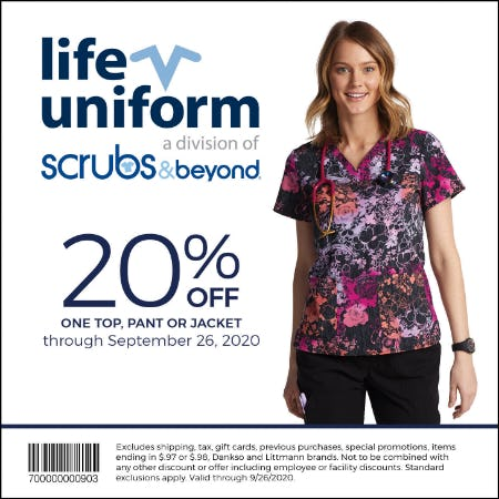 Fall 20 Coupon: 20% off one top, pant or jacket from Life Uniform