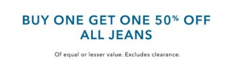 Buy One, Get One 50% Off All Jeans from American Eagle Outfitters