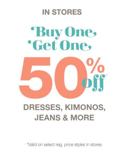 BOGO 50% Off Select Reg. Price Styles from maurices