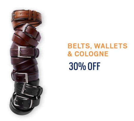 Belts, Wallets and Cologne 30% Off from Men's Wearhouse