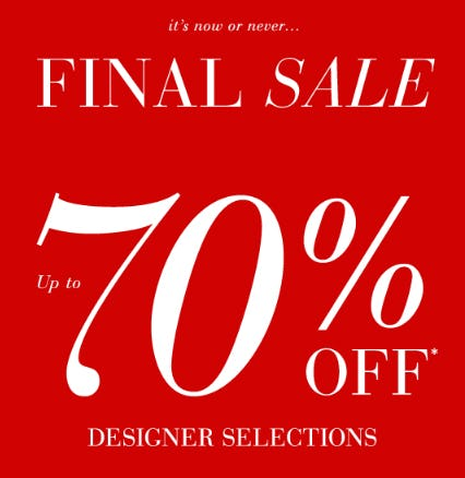 Up to 70% Off Designer Selections from Saks Fifth Avenue