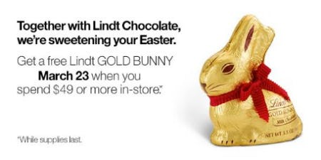 Free Lindt Gold Bunny from Crate & Barrel