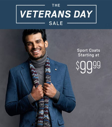 Sport Coats Starting $99.99 from Men's Wearhouse