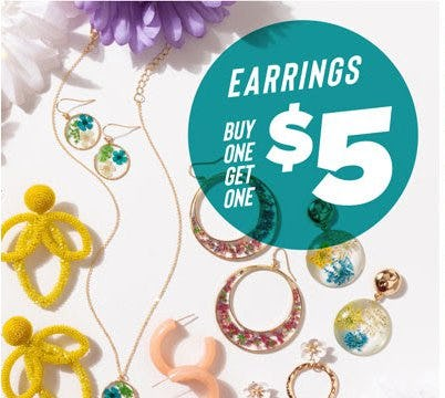 Earrings Buy One, Get One for $5