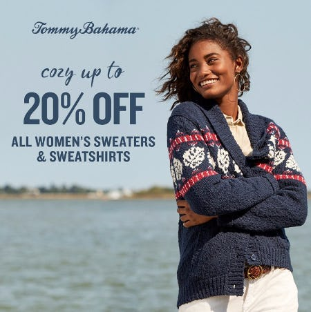 COZY UP TO 20% OFF WOMEN'S SWEATERS & SWEATSHIRTS