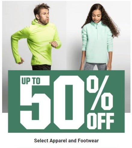 Up to 50% Off Select Apparel and Footwear