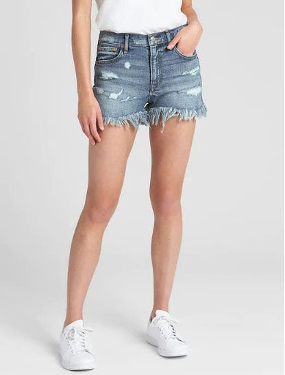 "High Rise 3"" Denim Shorts with Destruction from Gap"