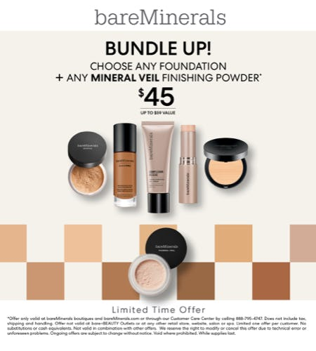 Foundation and Mineral Veil Bundle for $45 from bareMinerals