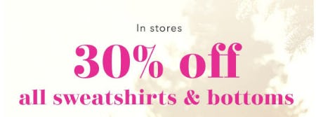 30% Off All Sweatshirts & Bottoms from Aerie