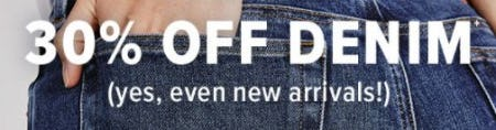 30% Off Denim from Lucky Brand Jeans
