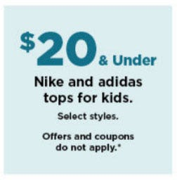 $20 & Under Nike and Adidas Tops for Kids from Kohl's