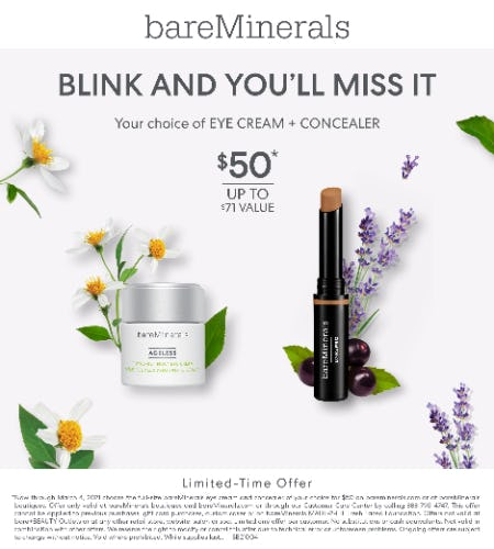 Choice of Eye Cream & Concealer for $50 from bareMinerals