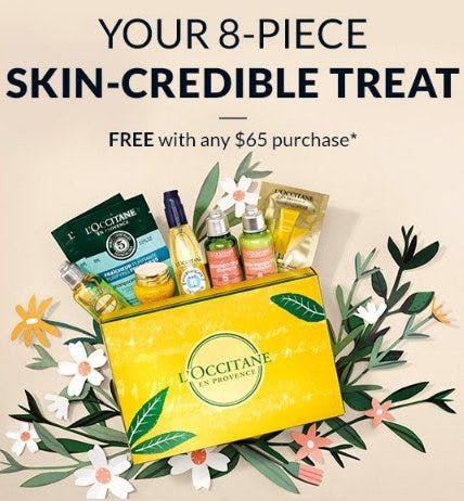 Your 8-Piece Skin-Credible Treat Free with Any $65 Purchase from L'Occitane