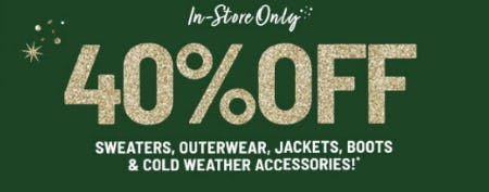 40% Off Sweaters, Outerwear & More