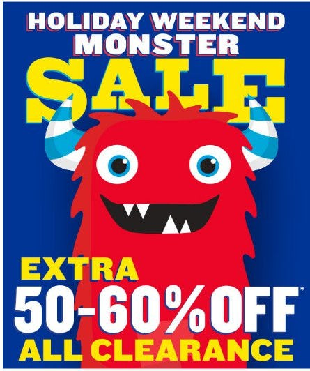 Monster Sale: Extra 50-60% Off All Clearance