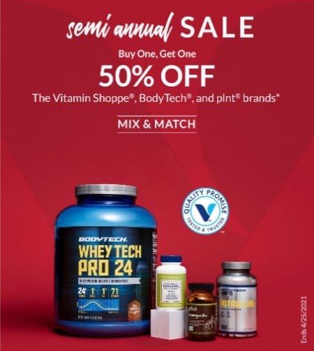 Semi Annual Sale: BOGO 50% Off from The Vitamin Shoppe