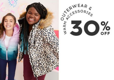 Outerwear & Warm Accessories 30% Off from Justice
