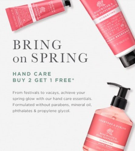 B2G1 Free Hand Care from Crabtree & Evelyn