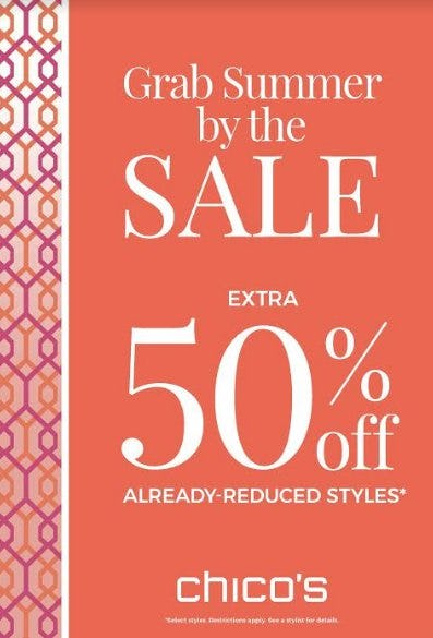 Extra 50% off Already Reduced Styles from chico's